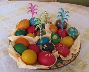 basket of dyed eggs for easter